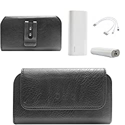 DMG Premium PU Leather Cell Phone Pouch Carrying Case with Belt Clip Holster for Intex Aqua Life II (Black) + 3600 mAh Power Bank