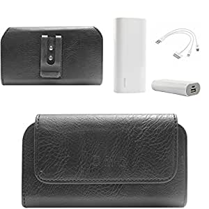 DMG Premium PU Leather Cell Phone Pouch Carrying Case with Belt Clip Holster for Gionee M2 (Black) + 3600 mAh Power Bank