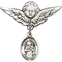 Sterling Silver Baby Badge with St. Agatha Charm and Angel w/Wings Badge Pin 1 1/8 X 1 1/8 inches