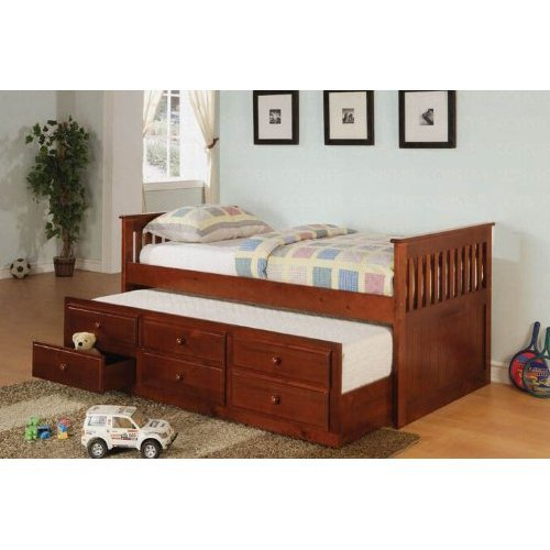 Day Bed With Trundle Mission Style In Cherry Finish Best