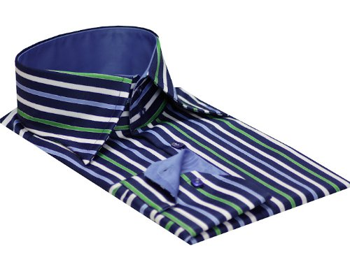 Mens formal & casual italian design shirts Navy colour strips slim fit