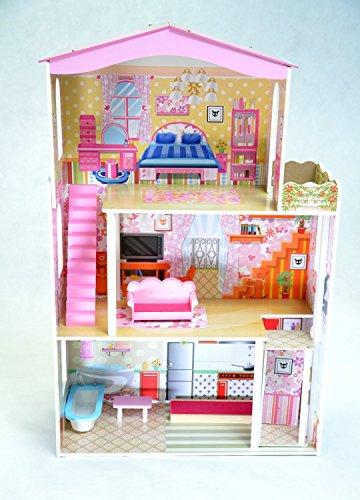 Best For Kids Puppenhaus KESJA aus Holz MDF Wooden Doll Haus mit Möbeln 3 Etagen mit AUFZUG - BESTE QUALITÄT