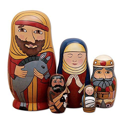 Set-of-5-Handmade-Wooden-The-Nativity-Holy-Family-Nesting-Doll-Matryoshka-Russian-Doll-Popular-Kids-Christmas-Birthday-Gifts-Toy