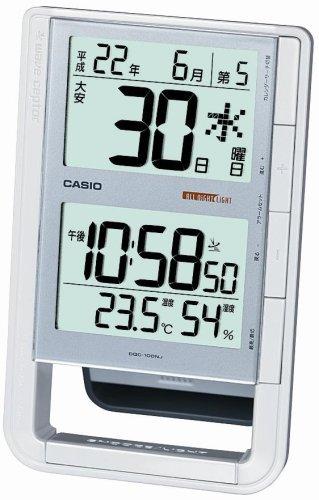 CASIO (カシオ) 目覚し時計 WAVE CEPTOR ウェーブセプター 電波時計 卓上型電子日めくり 温度表示 湿度表示 DQC-100NJ-8JF