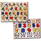 Wooden Children Peg Puzzles Alphabets and Numbers 2 in 1