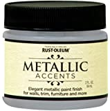 Rust-Oleum Metallic Accents 255336 Decorative 2-Ounce Trail Size Water Based One Part Metallic Finish Paint, Sea Shell