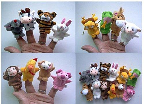 Soft-Plush-Velour-Animal-Hand-Puppets-Kids-Animal-Finger-10-Pieces