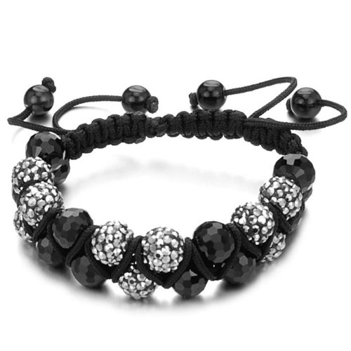 Shamballa Bracelet Unisex Silver Grey and Onyx Two Row of Disco Balls Macrame Beaded Ball