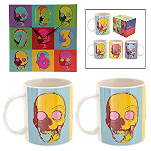 Pop Art Skulls Mug Set for Two with Funky Wall Clock. A perfect gift for that Birthday Gift, Christmas Present or Fathers day gifts etc... from TTG(PUCK) - General Giftware