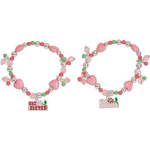 Heirloom Finds Girls Pink Beaded Big Sister Lil Sister Charm Bracelets Set of 2