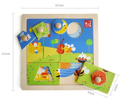 Olina Deluxe Wooden Multilayer Jigsaw Puzzle --- Bees Home Night - 1