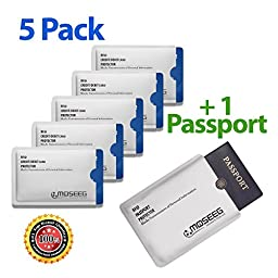 Moseeg® RFID Sleeves for Credit Cards & Passports - Full compliance with the US GSA FIPS-201 Electromagnetically Opaque Shield Requirements - Compatible with all Major RFID Enabled Documents Including IDs & Drivers Licenses - Extremely lightweight & Flex