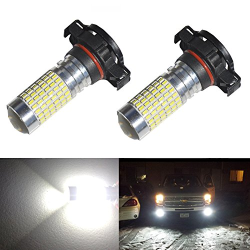 JDM ASTAR 1200 Lumens Extremely Bright 144-EX Chipsets PSX24W 2504 LED Bulbs with Projector for DRL or Fog Lights, Xenon White (Fog Light Bulbs Dodge Charger compare prices)