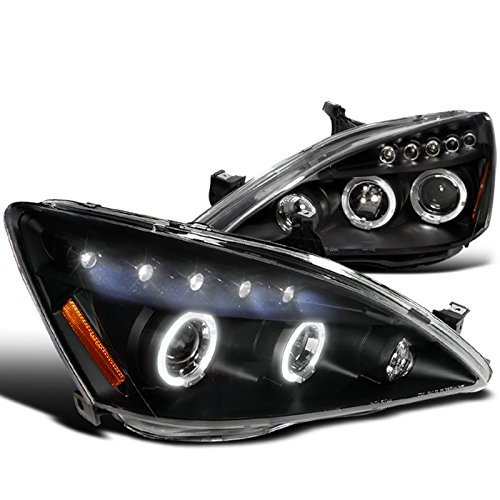 Spec-D Tuning 2LHP-ACD03JM-TM Honda Accord Halo Led Projector Headlights Black Pair (Honda Accord 2007 Headlights compare prices)