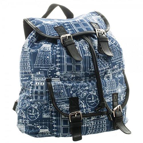 Doctor Who Blue Print Sublimated Knapsack Laptop Backpack Book Bag