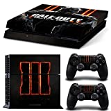 Ps4 Playstation 4 Console Skin Decal Sticker Black OPS 3 COD + 2 Controller Skins Set