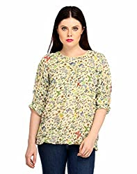 Snoby Printed 3/4th Polyester Top in Cream (SBY1020)