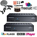 TradeWorks Freesat HD Multiroom Install Kit Dish 2x Boxes Meter Cable BBC iPlayer ITV Player OnDemand TV
