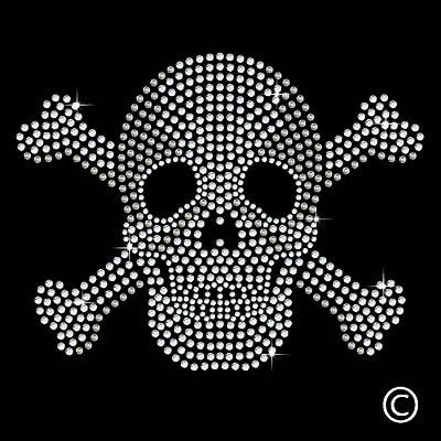 Skull And Crossbones Iron On Hotfix Diamante Motif Rhinestone Transfer from Twisted Envy
