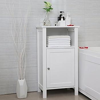 SONGMICS Bathroom Floor Storage Cabinet with Single Door Adjustable Shelf White UBBC45WT