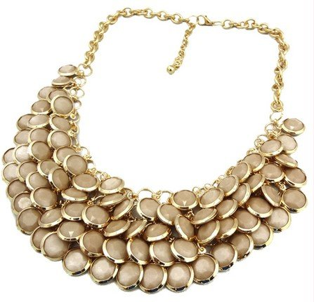brown Chunky Multi Layers Resin Gem Round Beads Statement Bib Collar Necklace(wp-54)