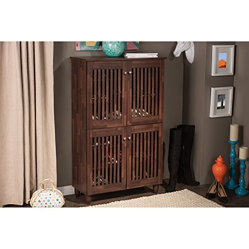 Wholesale Interiors Baxton Studio Fernanda Modern and Contemporary 4-Door Oak Brown Wooden Entryway Shoes Storage Tall Cabinet (Tall Shoe Storage compare prices)