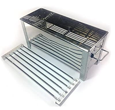 """14"""" BBQ Grill Stove Satay Steak Barbecue Charcoal Smoker Kochstelle Korean Thai Chinese Skewers Table Top Family Party Outdoor. (Free A Gift Wooden Key Chain Guitar Handmade)."""