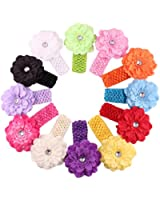 Qandsweet Baby Girl's Headbands Peony Flower (12 Pack)