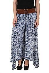 Mojeska Womens High Waist Paisley Pattern Stretchy Palazzo Pants with Belt