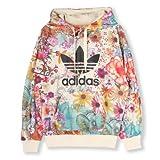 [アディダス]Adidas Originals × Farm コラボ 花柄 フローラル トレフォイルロゴ パーカー フーディー レディース (L)