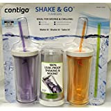 Contigo Shake & Go Plastic Tumblers - Set of 3 (Lavender Orange & Clear)