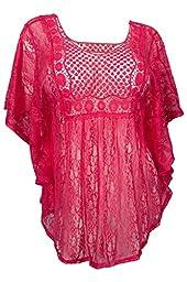 eVogues Plus Size Sheer Crochet Lace Poncho Top Fuchsia - 3X