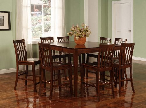 Buy Low Price Coaster 9pcs Contemporary Walnut Counter Height Dining Table & 8 Stools Set (VF_Dinset-101038WLN)