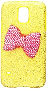 JUJEO Diamante Bowknot Sequins Leather Coated Hard Back Case for Samsung Galaxy S5 - Non-Retail Packaging - Yellow