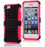 iPhone 5C Case, iPhone 5C Armor cases- Tough Armorbox Dual Layer Hybrid Hard/Soft Protective Case by Cable and Case - Pink Armor Case