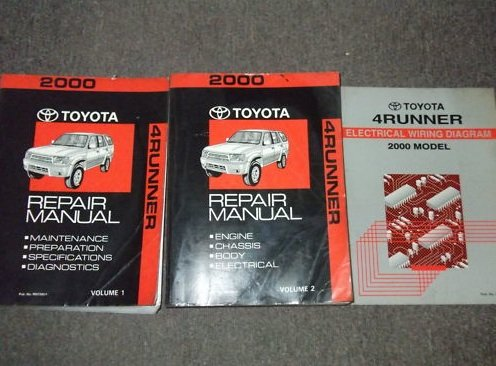 2000 Toyota 4Runner Service Shop Repair Manual Set OEM (service manual set, and the wiring diagrams manual.Volume 1 covers maintenance/preparation/specifications/diagnostics,Volume 2 covers electrical/chasis/body/engine.) (2000 4runner Service Manual compare prices)