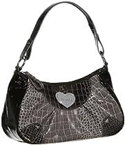 XOXO City Love Reptile Embossed Shoulder Bag [XH50553], BLACK/GREY