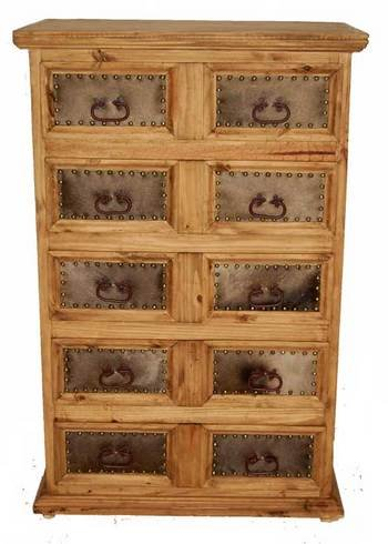 Chest of Drawers with Cowhide, Western, Rustic, Real Wood, Tall Dresser