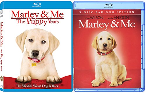 Marley & Me + Marley and Me: The Puppy Years - Blu Ray 2 Movie Combo Family Animal (Three-Disc Bad Dog Edition) set
