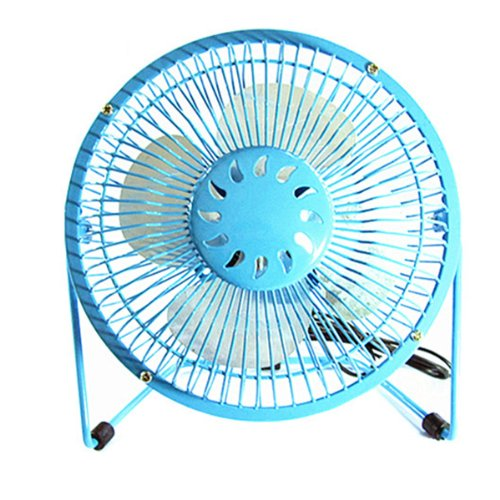 Pixnor 6-Inch 360-Degree Rotating Usb Powered Mini Metal Electric Fan Desk Cooling Fan For Pc / Laptop / Notebook (Blue)