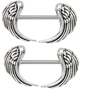 Body Accentz® Nipple Ring Angel Wings bar body Jewelry sold as Pair 14g 1/2