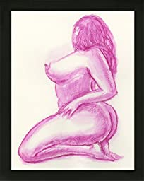 Original Art Pink Boudoir BBW Voluptuous Curvy Woman Nude Female Watercolor Painting with black wood frame