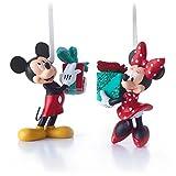 Hallmark Disney Mickey and Minnie Mouse Christmas Ornaments, Set of 2