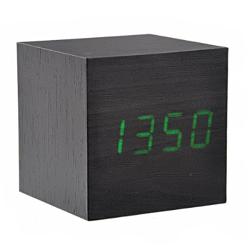 Tinksky 008-10 Mini Cube Shaped Voice Activated Green Led Digital Wood Wooden Alarm Clock With Date /Temperature Black