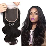 Greatremy Body Wave 5x5 Lace Closure with Baby Hair Virgin Brazilian Human Hair Free Part Natural Color 16inch