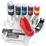 ELECOM 詰め替えインク キヤノン BCI-321・320BK対応5色セット 5回分 リセッター付(ブラック、シアン、マゼンタ、イエロー、ブラック(顔料)) THC-MP640SET