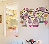UberLyfe Set us Free Colourful Birds and Cages on a Branch Wall Sticker (Wall Covering Area: 98cm x 110cm)