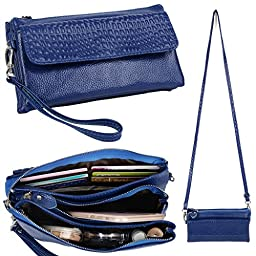 YALUXE Women\'s Large Capacity Leather Smartphone Wristlet Clutch with Shoulder Strap Blue