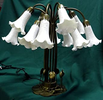 """Magnificent 12 Shade Pond Lily Flower Table Lamp with Antiqued White Lily Shades, 21 3/4"""" High, Metal Antique Style Base with Bulbs - Lilly Globe- Louis Comfort / Dale Tiffany Style Reproduction Accent / Table Lamp"""