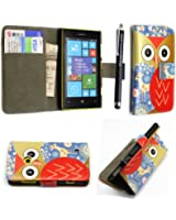 FOR NOKIA LUMIA 520 VARIOUS PU LEATHER MAGNETIC FLIP CASE COVER POUCH + SCREEN PROTECTOR +STYLUS